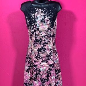 Pink and Black Fit and Flare Dress. Lrg.